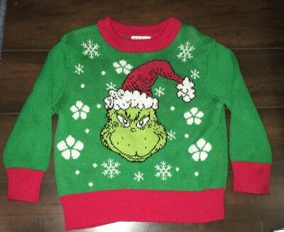 dr seuss the grinch toddler boys size 2t green red ugly christmas sweater - Grinch Ugly Christmas Sweater