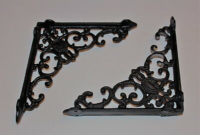 Set 2 Shelf Brackets Vintage Cast Iron Brace Scroll Black