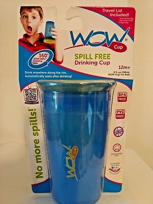 WOW Gear JUICY! WOW Cup for Kids 360 Spill-Free Cup, Blue/Yellow RETAIL $8.49