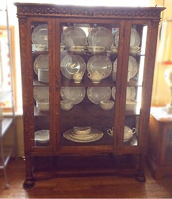 1920's Tiger Oak China Cabinet - PRICE NOW $945.00