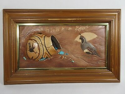 Roger & Marie Kull Art Sculpted Painted Leather Turquoise Southwest Painting