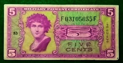 USA / MPC  Five Cents 5c 1958 - 1961 Series - 541 Run  53 Banknote FREE SHIPPING