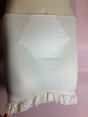 Unknown L Skirt girdle with crotch lace trim white skirt or dress spanks T43