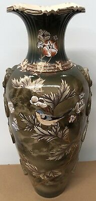 Antique Japanese Meiji Period Earthenware Large Vase with Bird and Floral Decor