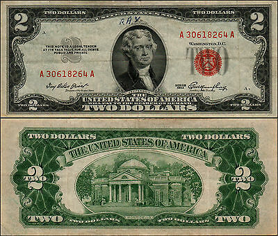 Old Vintage 1953 Series $2 Dollar Bill Red Seal United States Currency L Y-594
