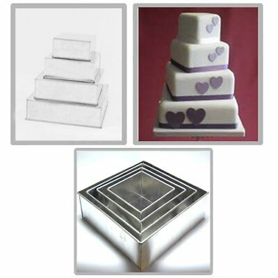 4 Tier Square Multilayer Birthday Wedding Anniversary Cake Tins By Euro Tins