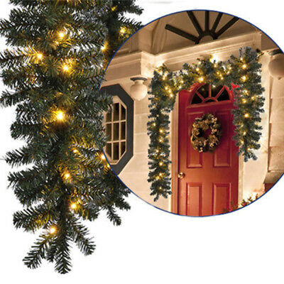 Wreaths Garland Fireplace 2.7M Christmas Decorations Ornaments Xmas Rattan Wall
