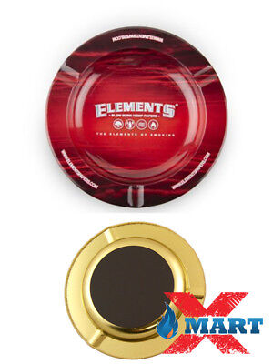 """Elements Red 5 1/2"""" Round Metal (MAGNETIC) Ashtray Natural Rolling Papers"""