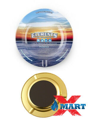 """Elements Blue 5 1/2"""" Round Metal (MAGNETIC) Ashtray Natural Rolling Papers"""