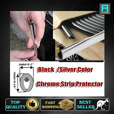 Black/Silver Seal U Shape Molding Trim Strip Door Scratch Guards Protector