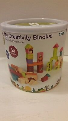 Oops My Creativity WOOD Building Blocks Wooden Block Toys 50 Pcs, For Ages 3+