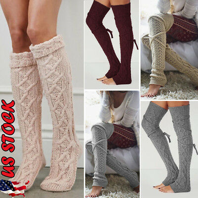 US Womens Warm Knit Over The Knee Socks Stockings Long Cotton Tights Thigh Socks