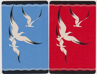 Swap/Playing Cards ~ SILHOUETTE OF SEAGULLS IN FLIGHT ~ Vintage Linen Pair
