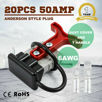 20PCS 6AWG Anderson Style Plug T Handle Dust Cover Trailer 12V 24V 50 AMP