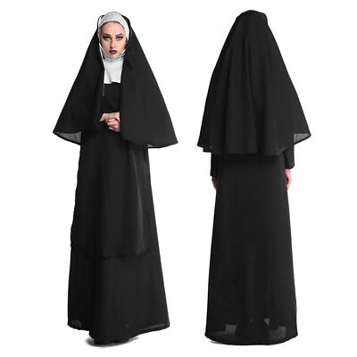Halloween Cosplay Nun Sister Mother Robe Womens Fancy Dress Cosplay Costume
