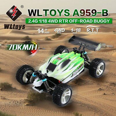 WLtoys A959-B 2.4G 1/18 Scale 4WD 70KM/h Electric RC Car RTR Off-road Buggy GA