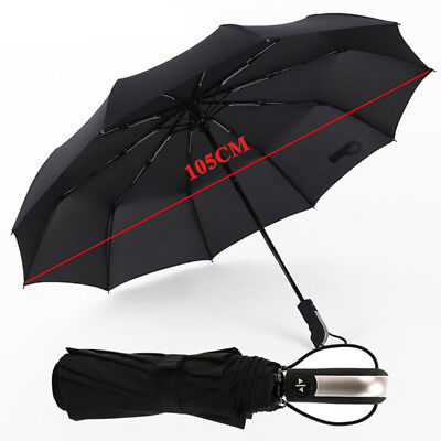 10 Ribs Fully-automatic Umbrellas Windproof Strong Frame Three Folding Large jia