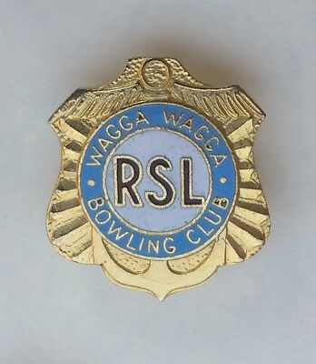 WAGGA WAGGA R.S.L. BOWLING CLUB BADGE from NEW SOUTH WALES, AUSTRALIA.