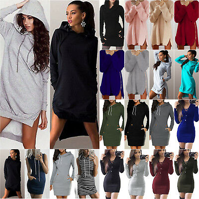 Women Hooded Sweatshirt Mini Winter Dress Long Sleeve Pullover Jumper Sweater XL