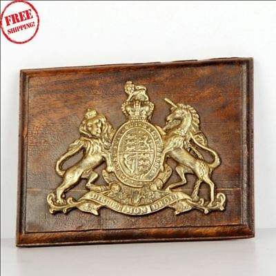 Old Brass & Wooden 'dieu Et Mon Droit' Lion & Unicorn Handcrafted Monogram 9580