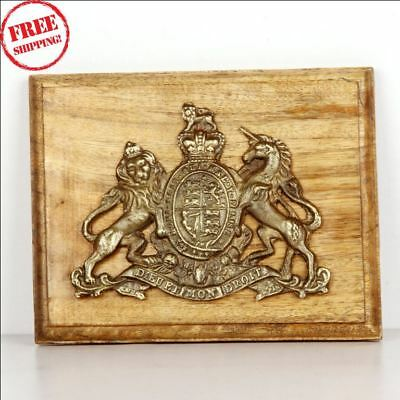 Old Brass & Wooden 'dieu Et Mon Droit' Lion & Unicorn Handcrafted Monogram 9582