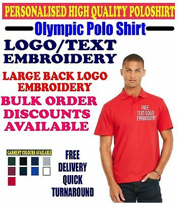 Personalised Text & Logo Embroidered Olympic Polo Shirt Uniform Workwear Custom