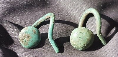 VR Indeed Bronze age 7/2 Century BC earring pair. Please read description. L90i