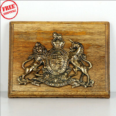 Old Brass & Wooden 'dieu Et Mon Droit' Lion & Unicorn Handcrafted Monogram 9547