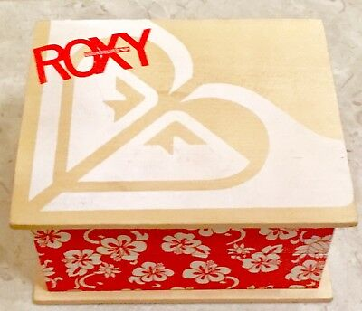 NEW ROXY QUICKSILVER RED JEWELRY/RING TRINKET BOX w/ MIRROR WOODEN