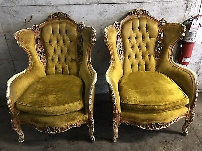 Pair of Chicago's own Homer Brothers Hand Carved Wingback Chairs