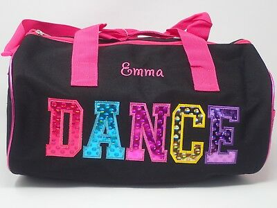 Personalized Embroidered DANCE Duffle Bag Tote Black GIRLS TEEN Lined