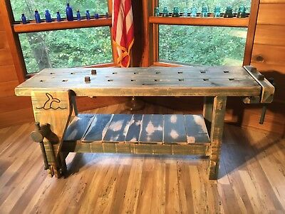 Vintage Carpenter / Boatwright Workbench W/ Faded Maritime Colors