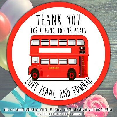 Personalised Red Bus Thank You Stickers Party Sweet Cone Birthday Cake Boxes