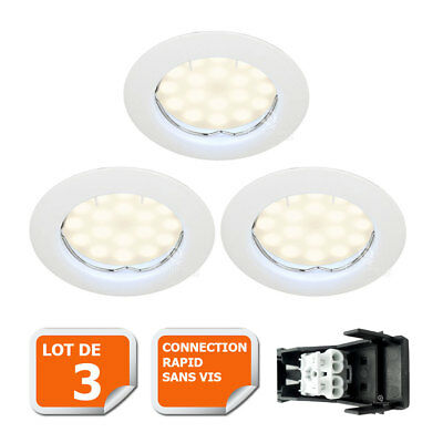 LOT DE 3 SPOT LED ENCASTRABLE COMPLETE RONDE FIXE eq. 50W BLANC NEUTRE