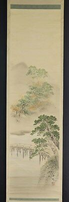 JAPANESE HANGING SCROLL ART Painting Scenery Asian antique