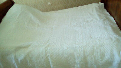 Antique 19Th French 2 White Sides Homemade  Boutis Provencal Bedcover Quilt