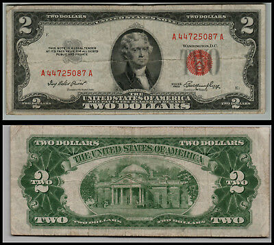 1953 $2 Dollar Bill Old Us Note Legal Tender Paper Money  Red Seal =E980