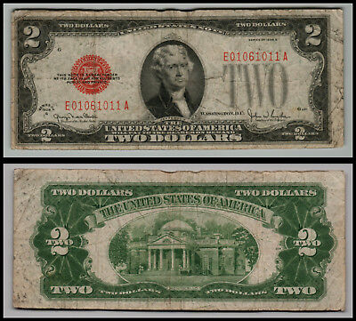 1928G $2 Dollar Bill Old Us Note Legal Tender Paper Money  Red Seal =G356