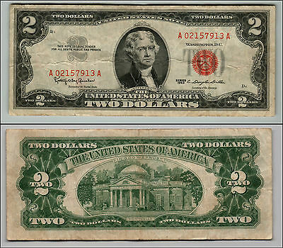 Old Vintage 1963 Series $2 Dollar Bill Red Seal United States Currency L Q888