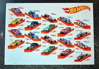 2018USA Forever - Hot Wheels - Sheet of 20   Mint