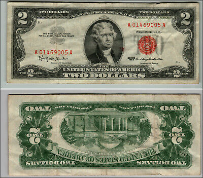 1- 1963 Series $2 Dollar Bill Red Seal United States Currency L Z605