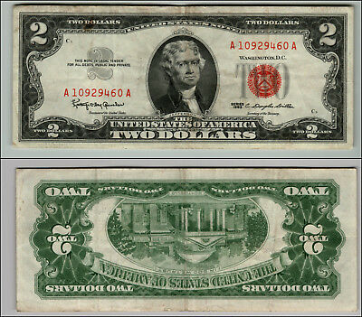 1963 $2 Dollar Bill Us Note Legal Tender Paper Money Currency Red Seal P859