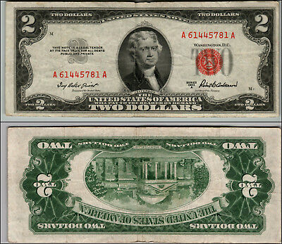 1953A $2 Dollar Bill Old Us Note Legal Tender Paper Money Currency Red Seal P14