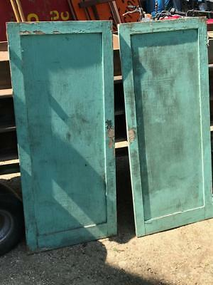 """2 Vintage Salvaged Wood Shabby Chic Cabinet Doors 50x21.75"""""""