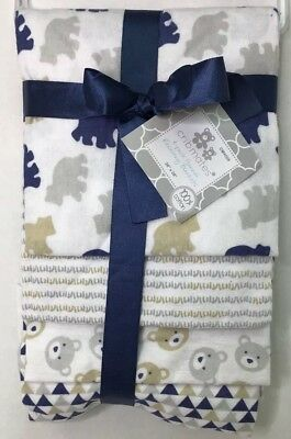 """Baby Boy Cribmates 4 Pack Flannel Receiving Blankets 28 X 28"""" Blue Bears"""