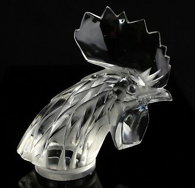 Lalique France -Tête De Coq- Cocks Head Clear/frost Glass Car Mascot Figure 1137