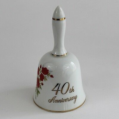 40th Anniversary Ceramic Hand Bell White Roses Papel California Made In Japan