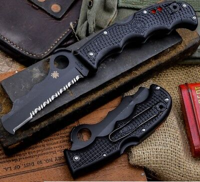 "Spyderco Assist Rescue Folding Knife 3.68"" VG10 Steel Blade Black FRN Handle"