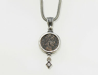 Sterling Silver Pendant, CZ accent, with Genuine Ancient Roman Coin. w/Cert -001