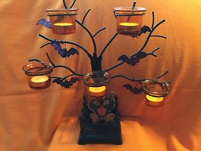 Black Metal Haunted House Candle Holder Halloween Tree W/Bats Candles Inc